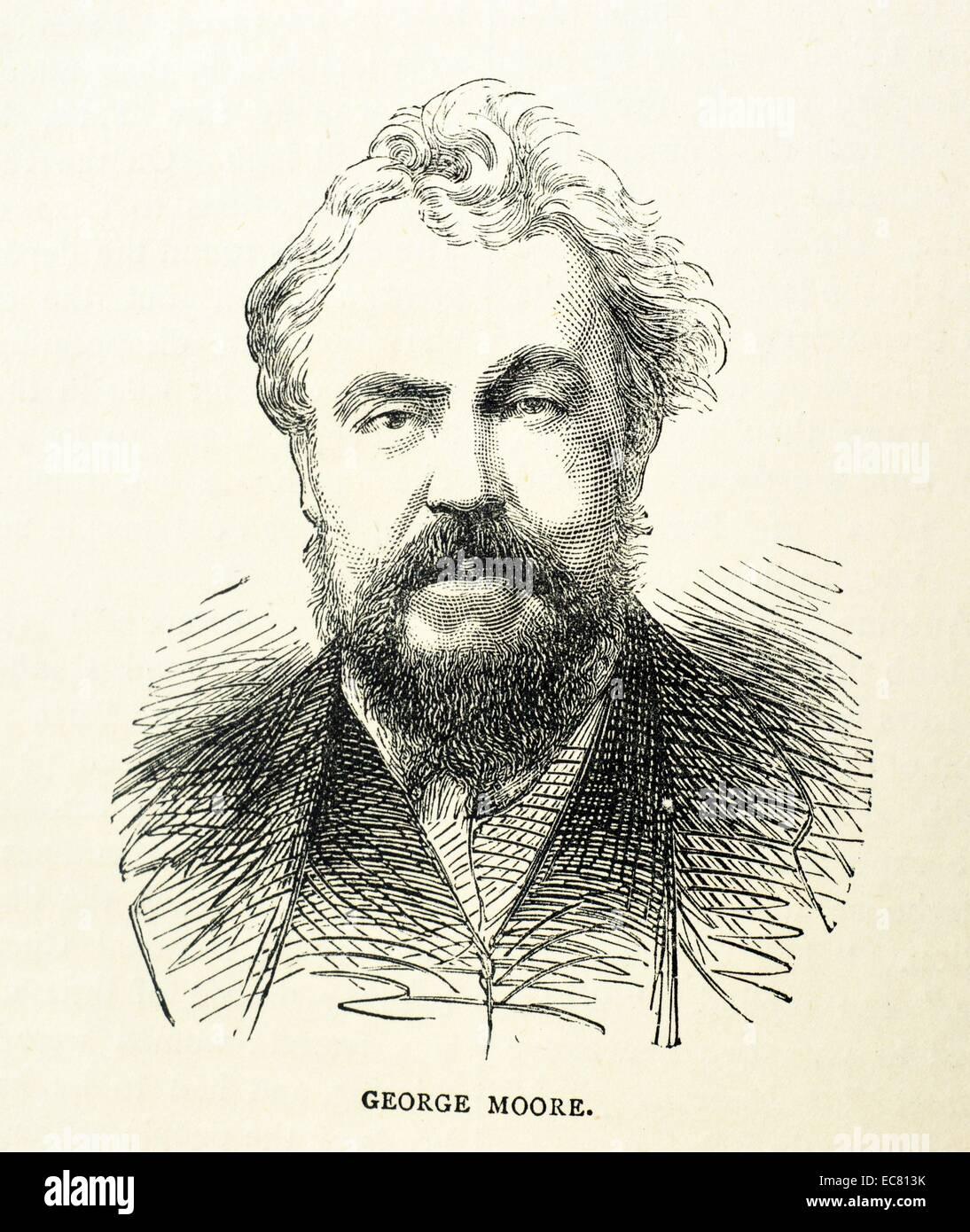 Engraving of George Moore (1852-1933) Irish novelist, short-story writer, poet, art critic, memoirist and dramatist. - Stock Image