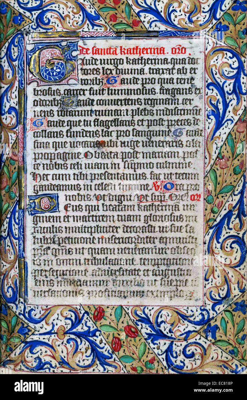 Book of Hours page. The book of hours is a Christian devotional book popular in the Middle Ages. It is the most Stock Photo
