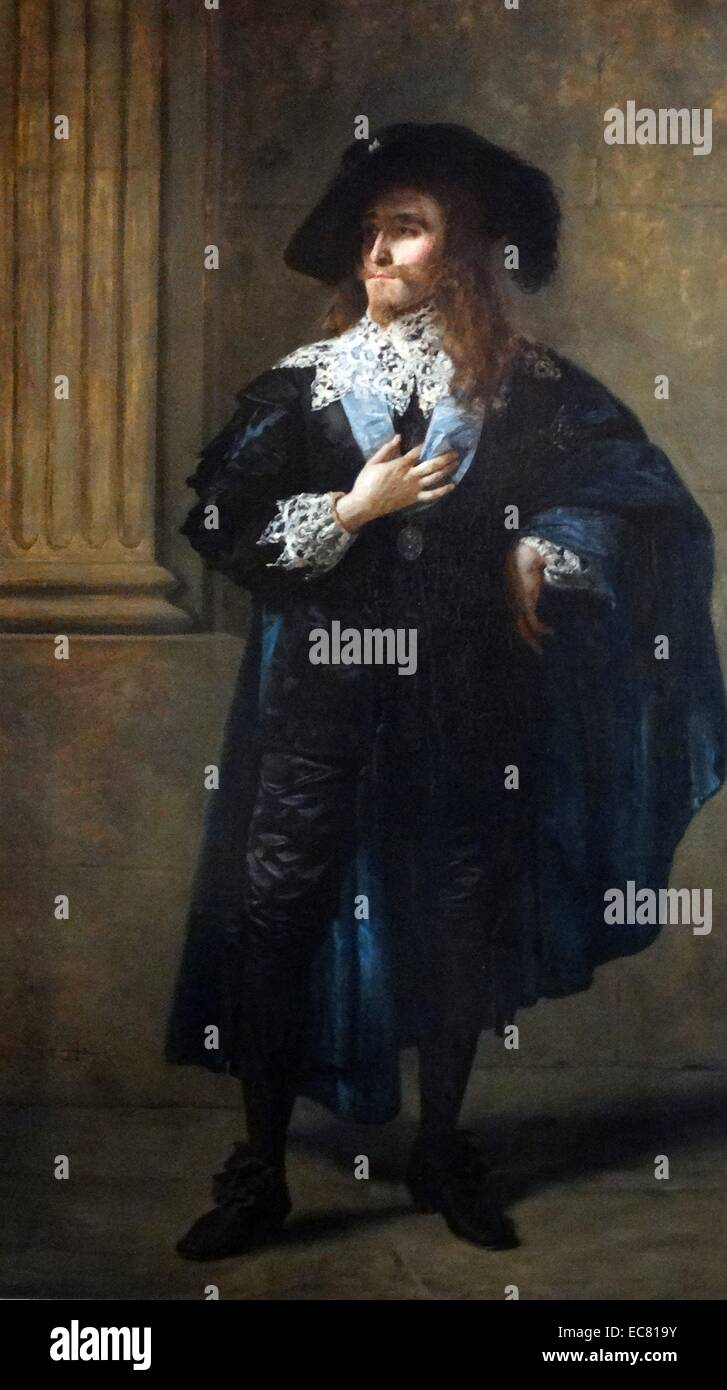 Sir Henry Irving portrays King Charles I of England. Painting by J Archer 1873 - Stock Image