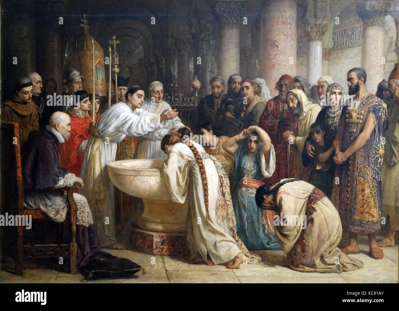 The Moorish Proselytes of Archbishop Ximenes at Granada, 1500 - Stock Image