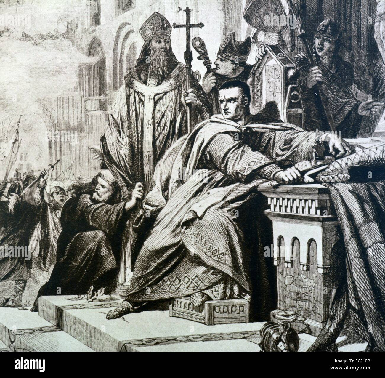 Coronation of William I (The Conqueror) as King of England Stock Photo