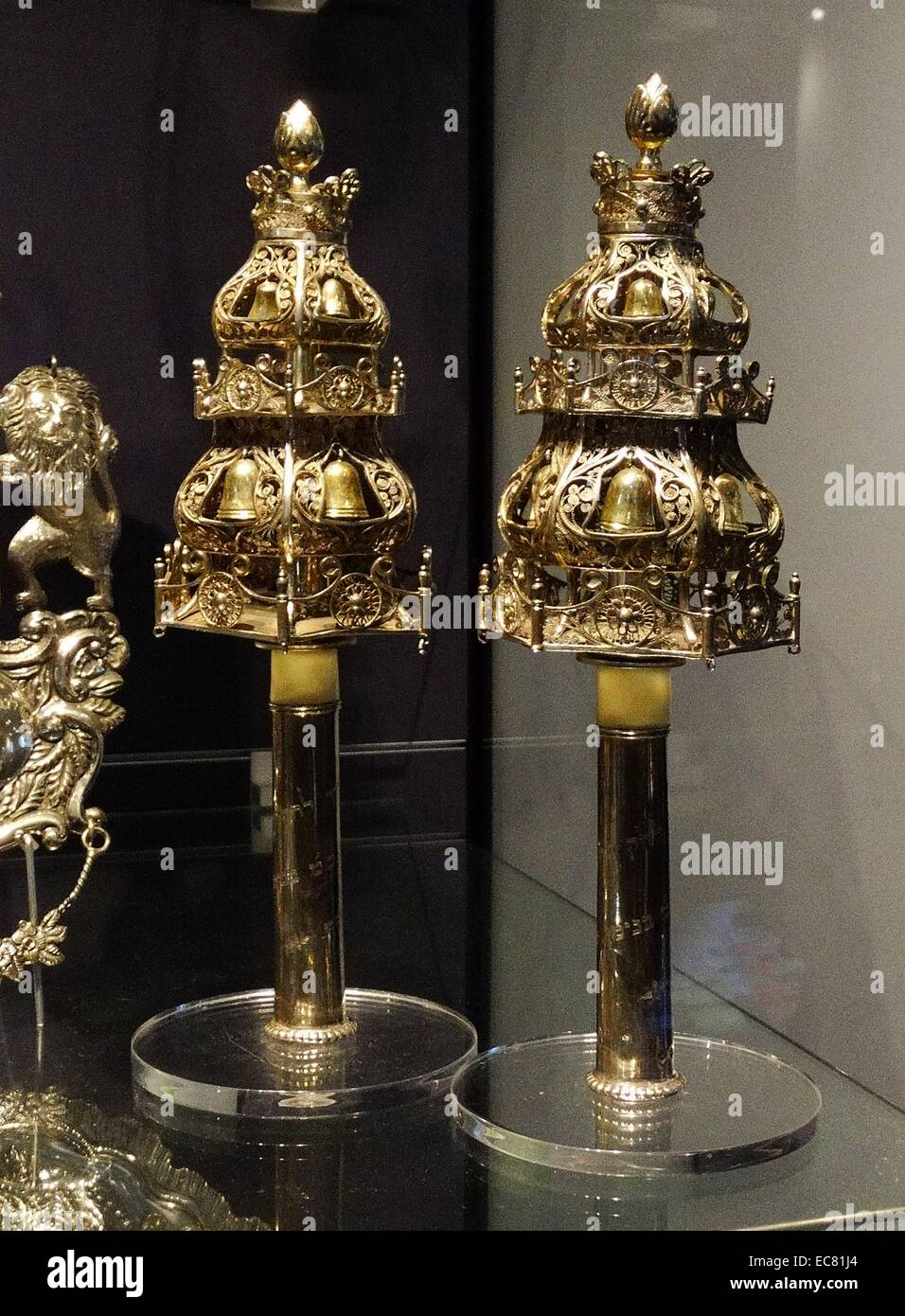 Silver finials (decorative bells attached to the end of Torah Scrolls) - Stock Image