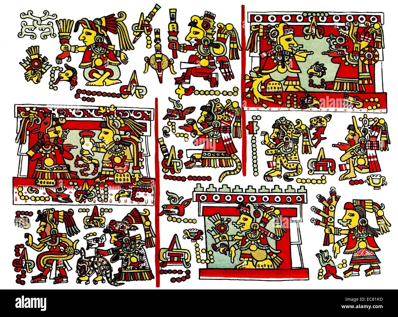 The Codex Zouche-Nuttall is an accordion-folded pre-Columbian document of Mixtec pictography. 14th Century - Stock Image