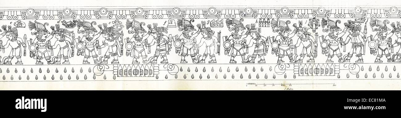 Line drawing of the scenes that run around the edges of the Stone of Tizoc - Stock Image