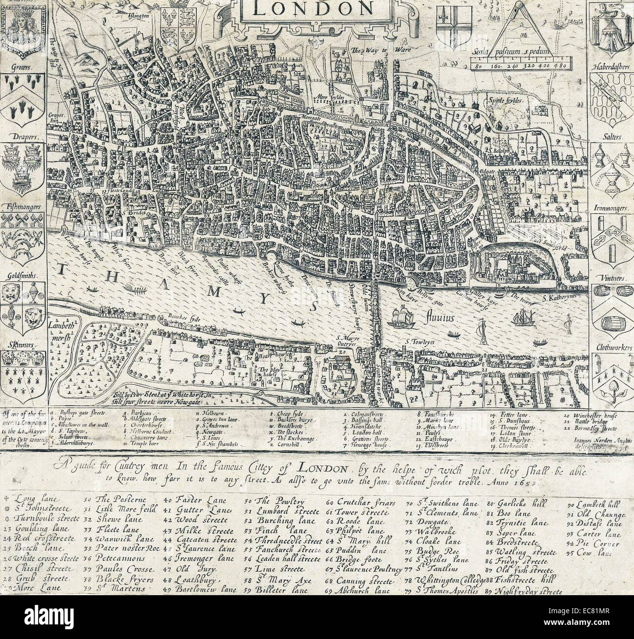 16th Century Map of London by John Norden (1548-1625)  English cartographer, chorographer and antiquary. Dated 1593 - Stock Image