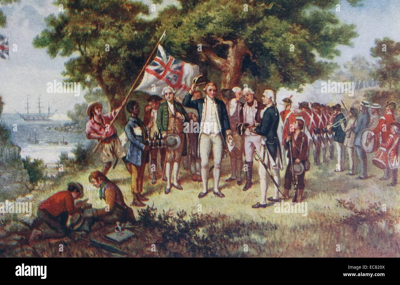 Captain James Cook, (1728 – 14 February 1779) British explorer, arriving at  Botany Bay; Australia, 1770