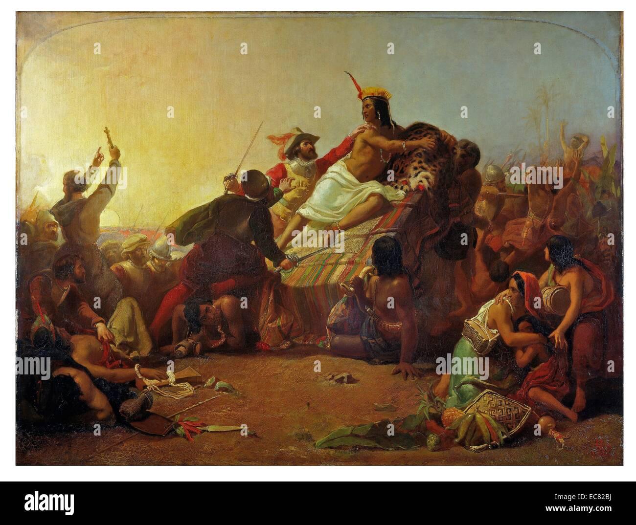 (Francisco) 'Pizarro Seizing the Inca of Peru' Millais 1846. - Stock Image