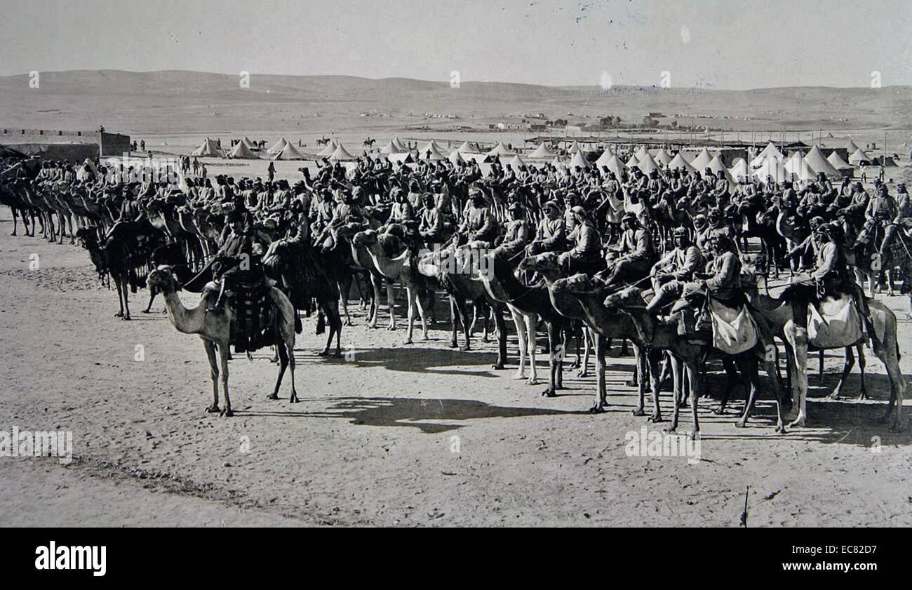 Ottoman soldiers mounted on camels. - Stock Image