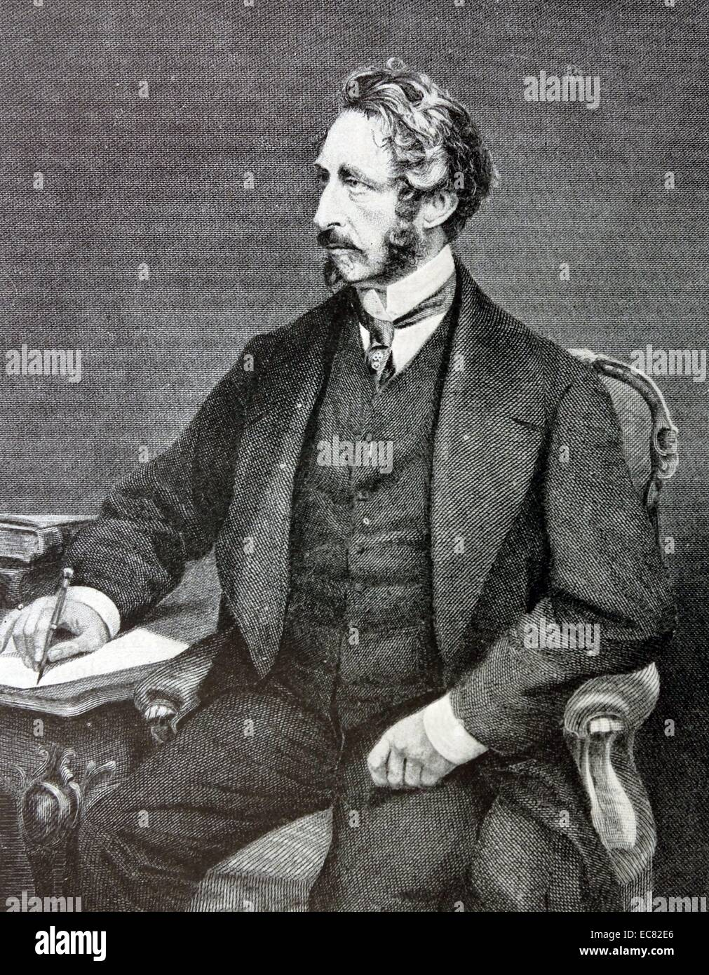 Engraving of Edward Bulwer-Lytton (1831-1891) English statesman, poet and Viceroy of India. Dated 1878 Stock Photo