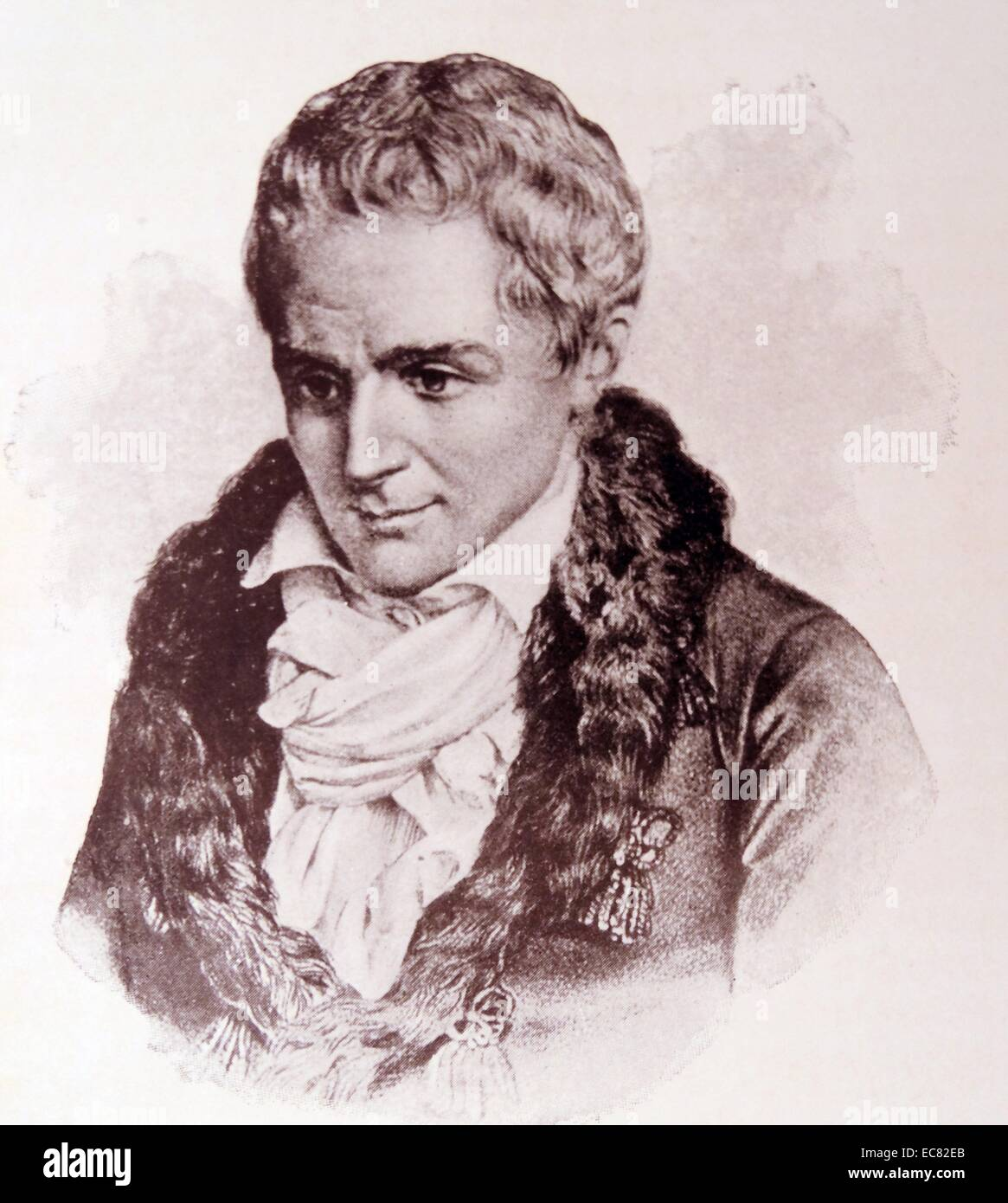 Engraving of Jean-Jacques Rousseau (1712-1778) Genevan philosopher, writer, and composer. Dated 18th Century - Stock Image