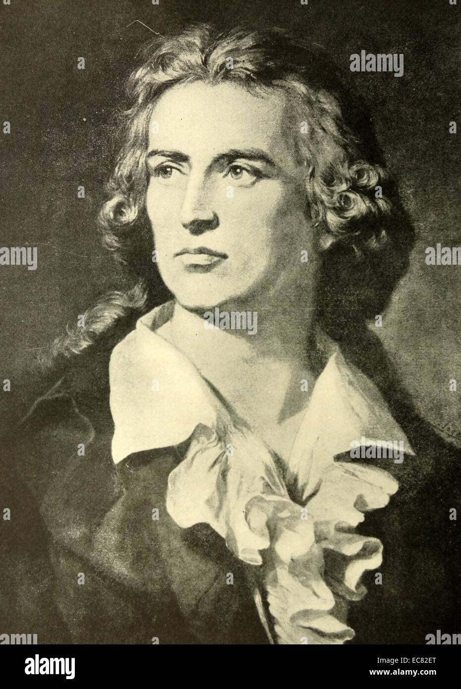 Portrait of Friedrich Schiller (1759-1805) German poet, philosopher, historian, and playwright. Dated 1793 - Stock Image
