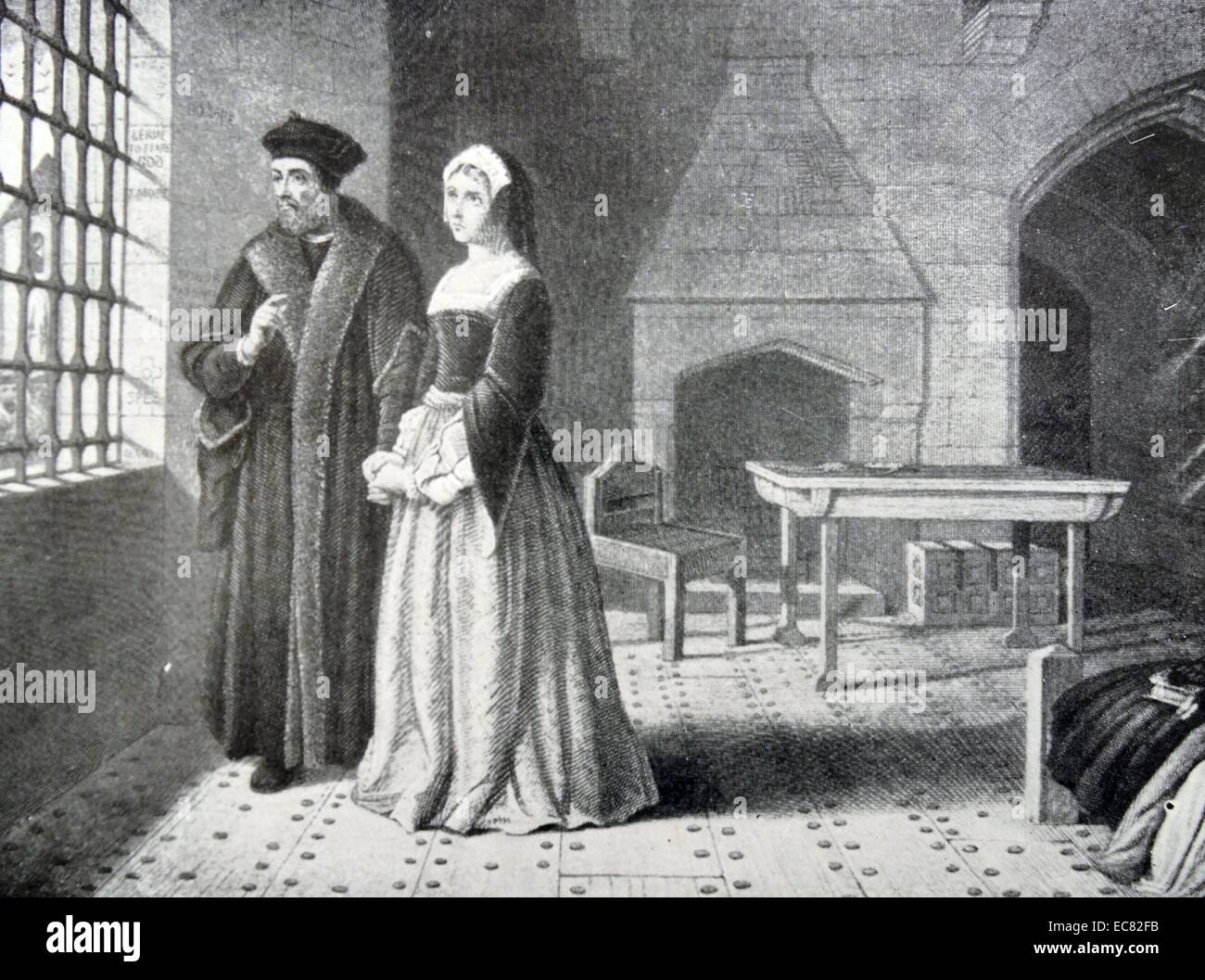 Engraving of Sir Thomas More and Daughter Margaret - Stock Image