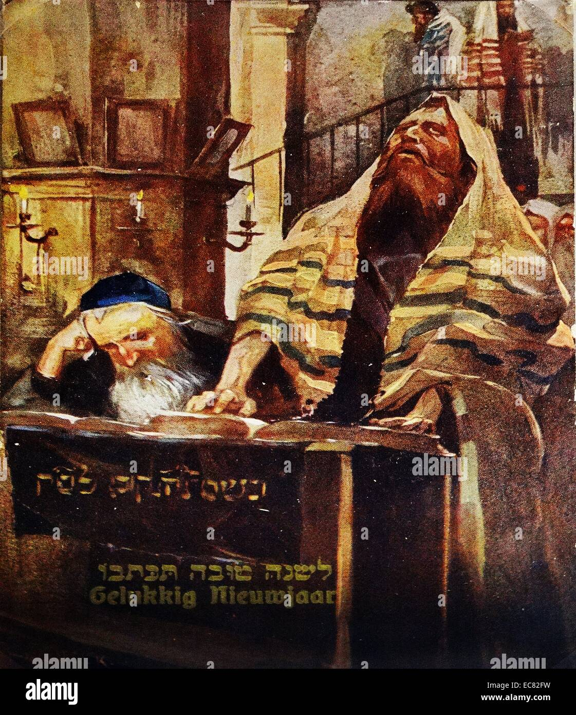 Dutch New Year Card showing a rabbi in a synagogue. He is wearing a traditional prayer shawl (tallit) c 1900. - Stock Image