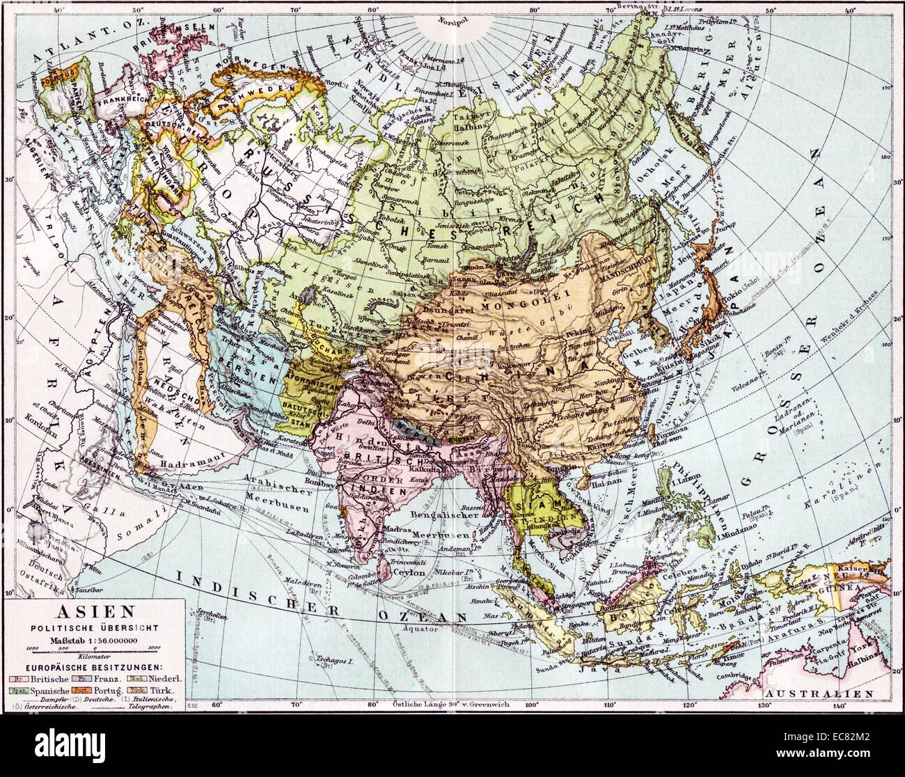 german map of europe russia and asia dated to 1890 stock image