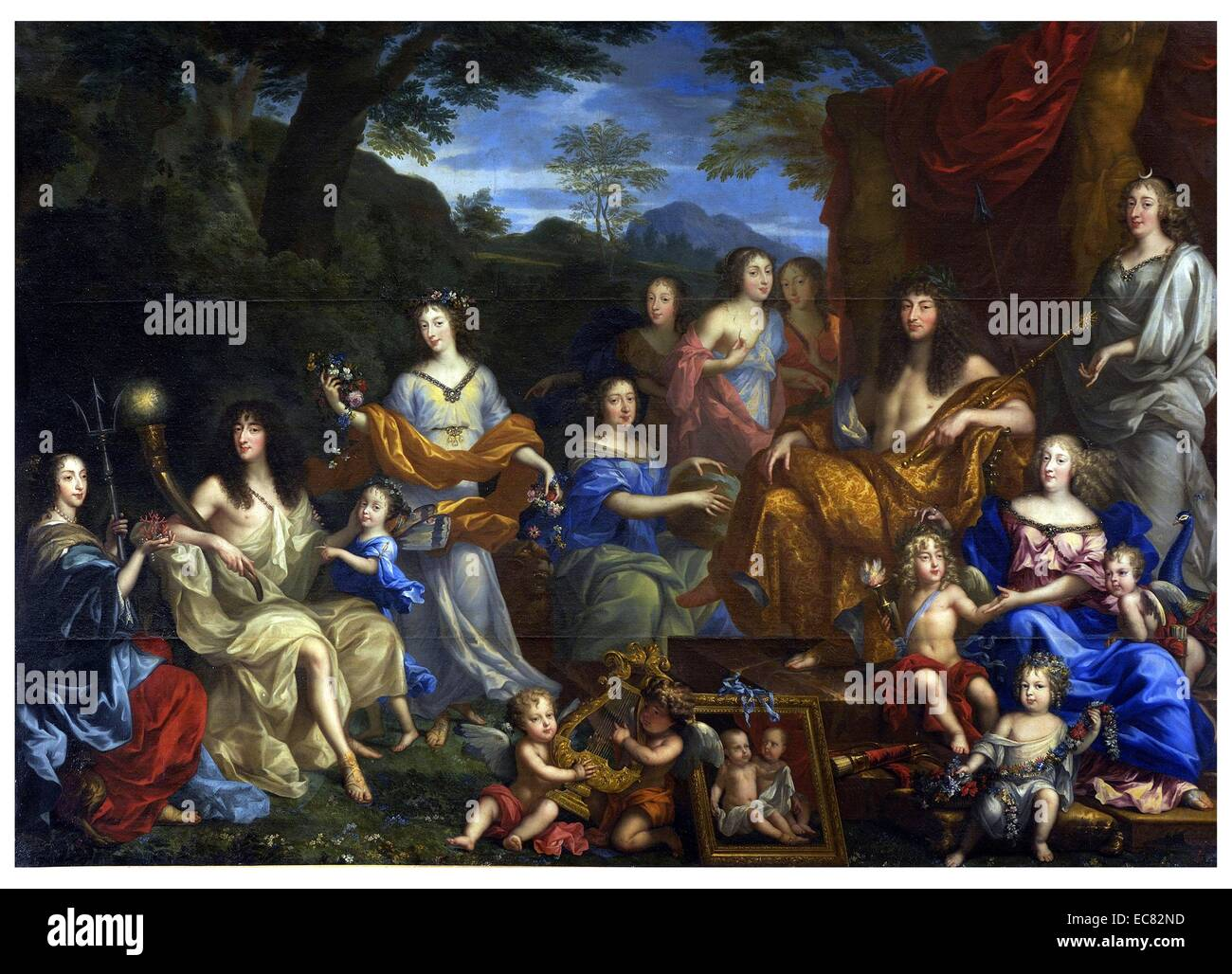 Louis and his family portrayed as Roman gods. painting by ...