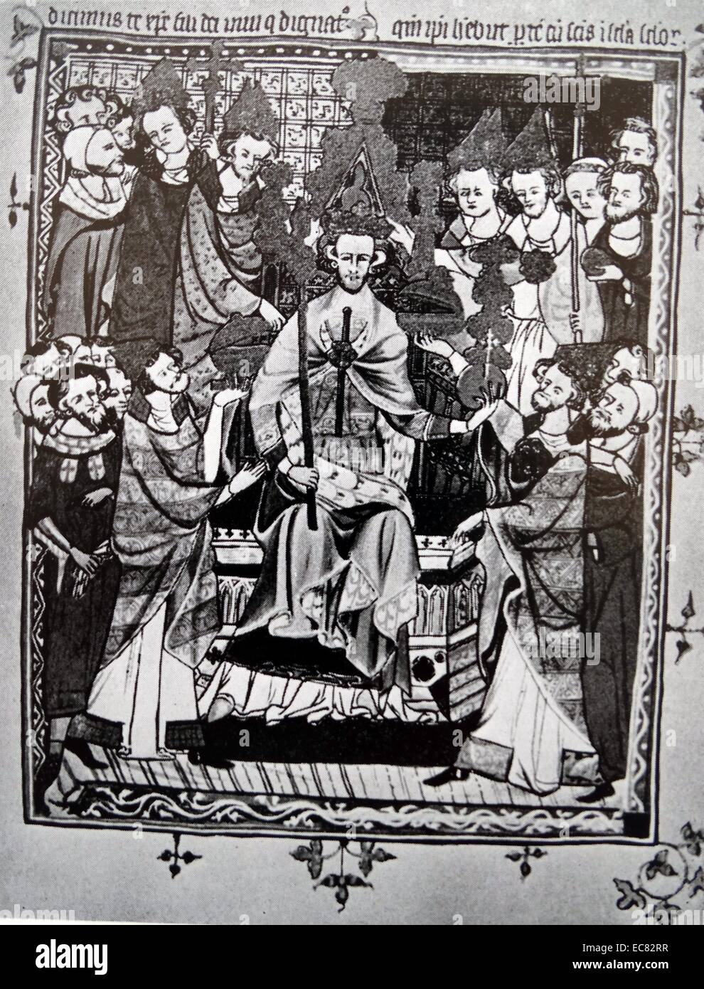 Coronation of a king in the early fourteenth century - Stock Image