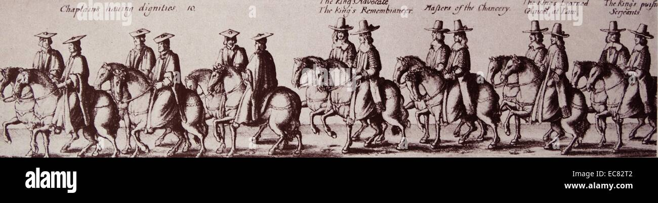 Engraving of the Coronation Procession of King Charles II - Stock Image