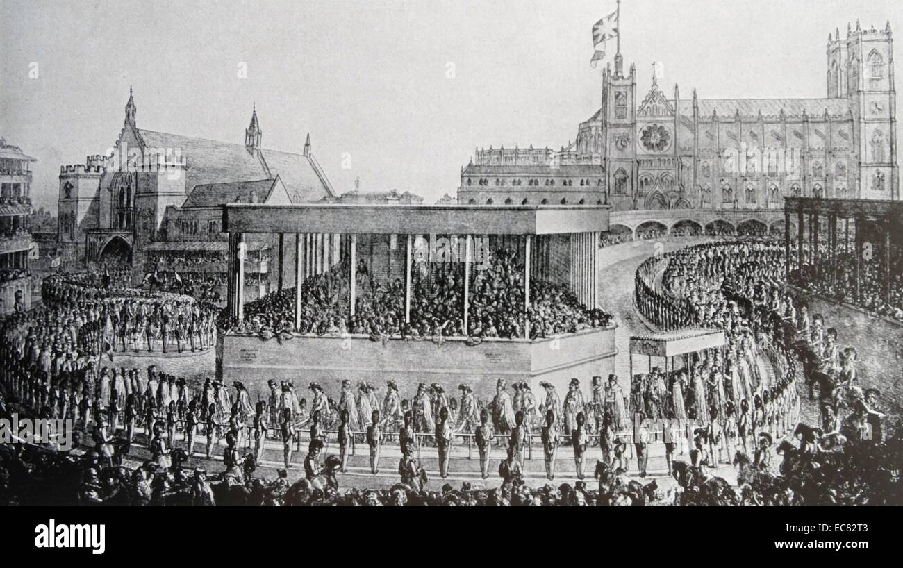 Engraving of the Coronation Procession of King George IV - Stock Image