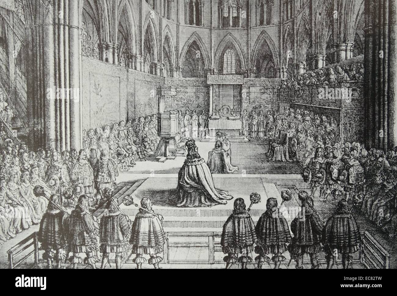 Engraving of the Coronation of King Charles II - Stock Image