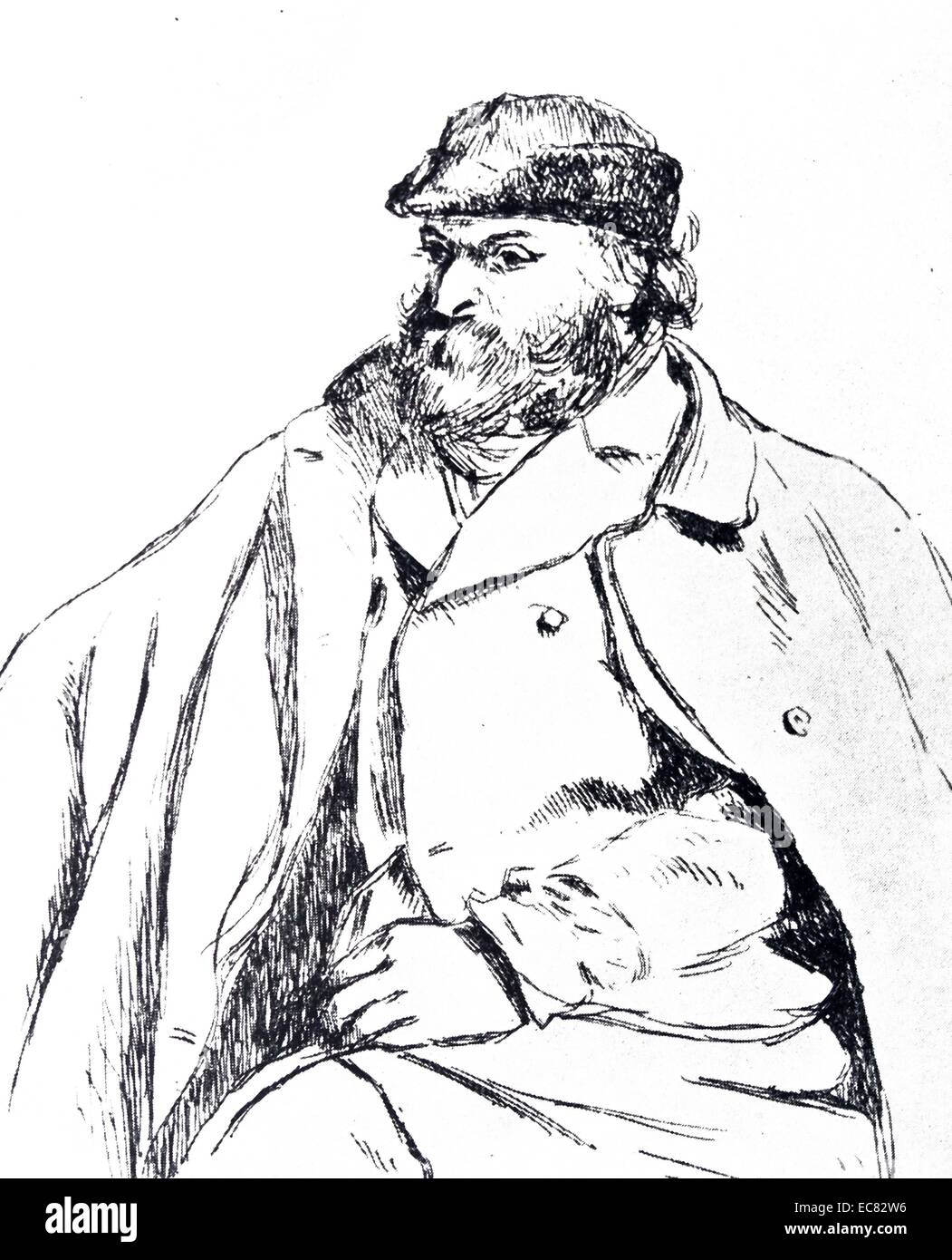 Etching of Paul Cézanne - Stock Image