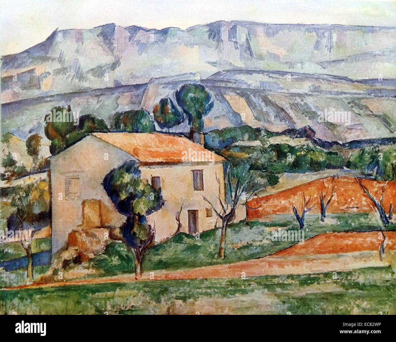 Painting titled 'House in front of Mont Sainte-Victoire' - Stock Image