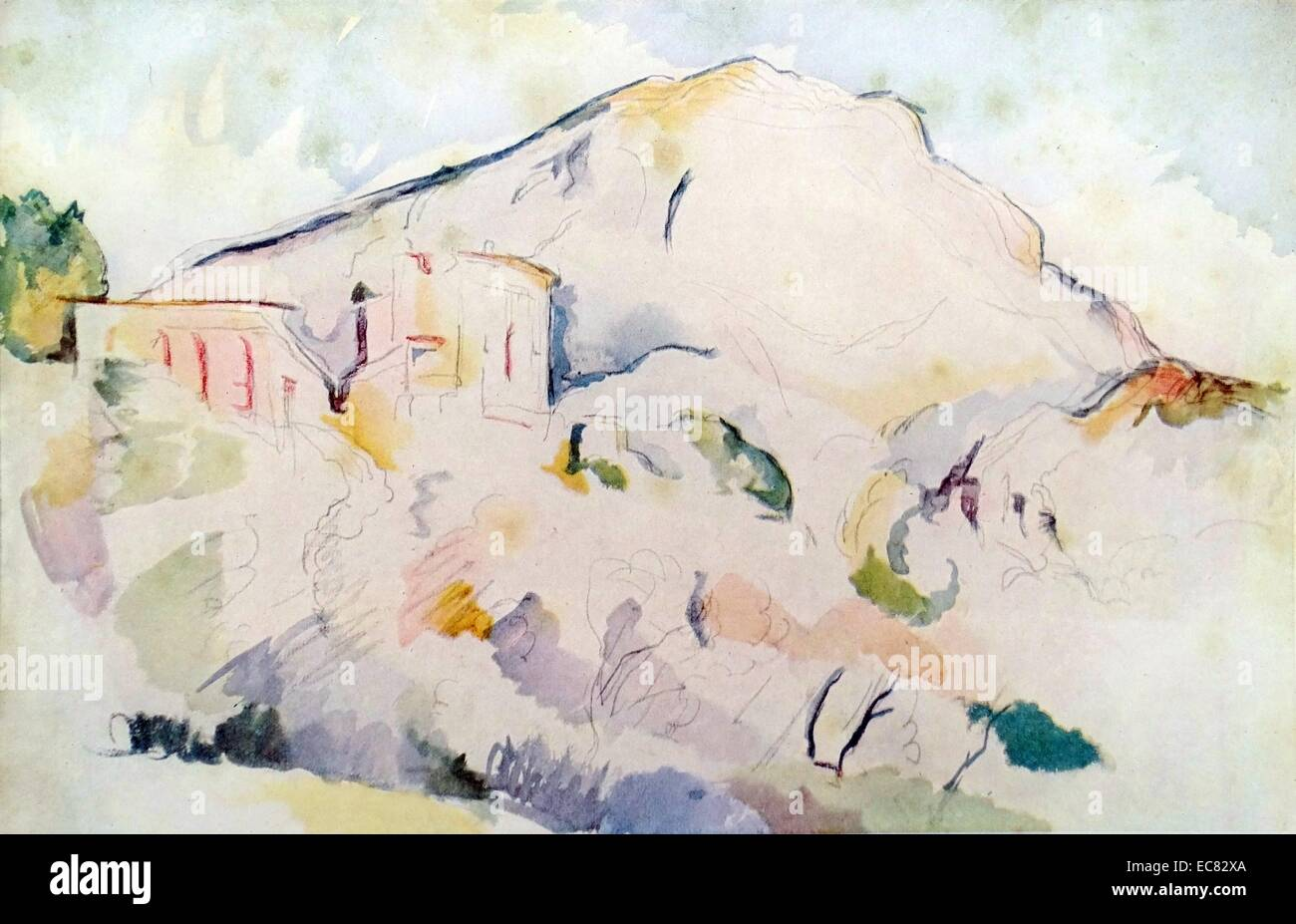 Painting titled 'Mont Sainte-Victoire and Château Noir' - Stock Image