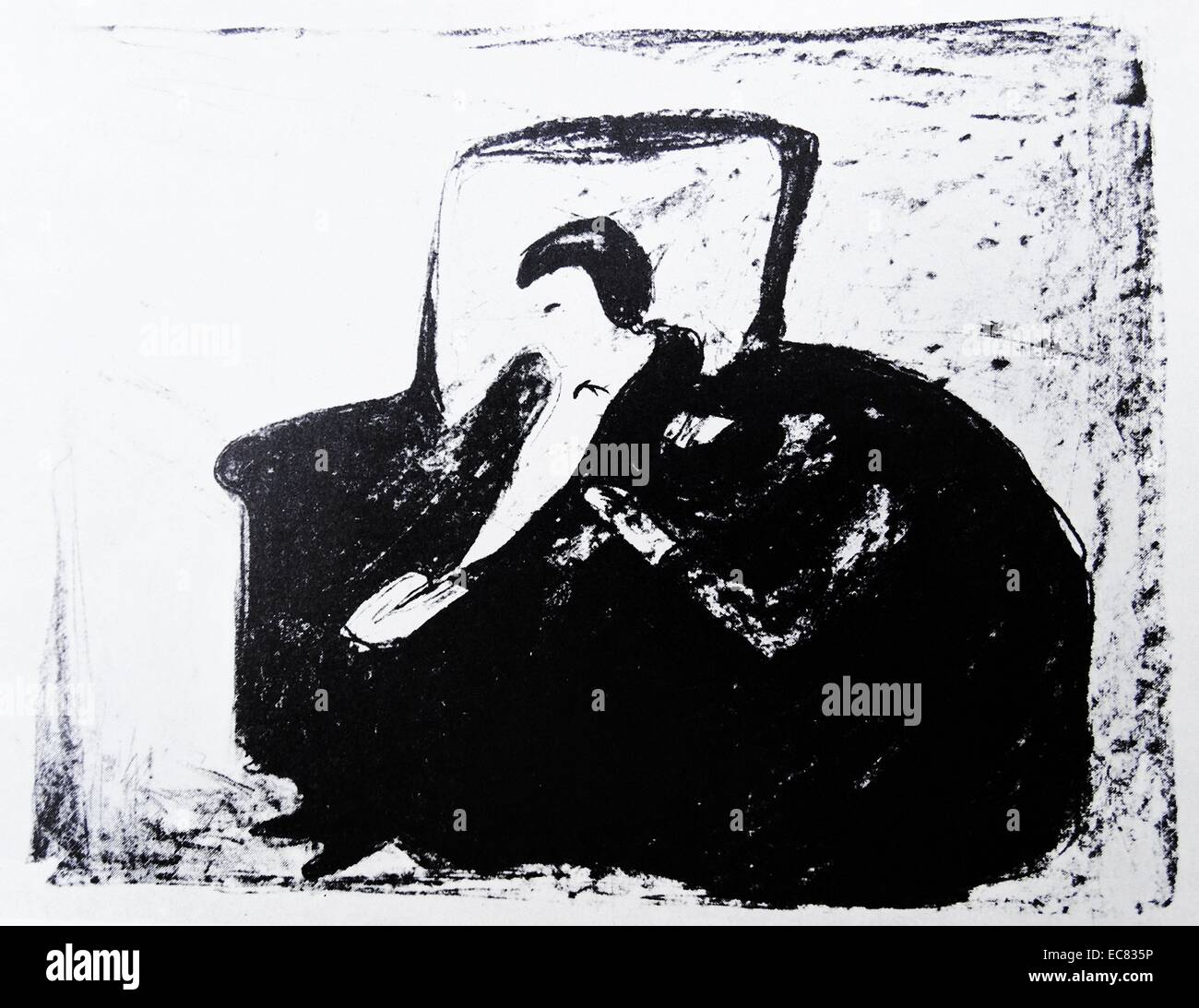 Work entitled Oswald's Collapse by Edvard Munch (1863-1944). The work was produced in 1920. - Stock Image