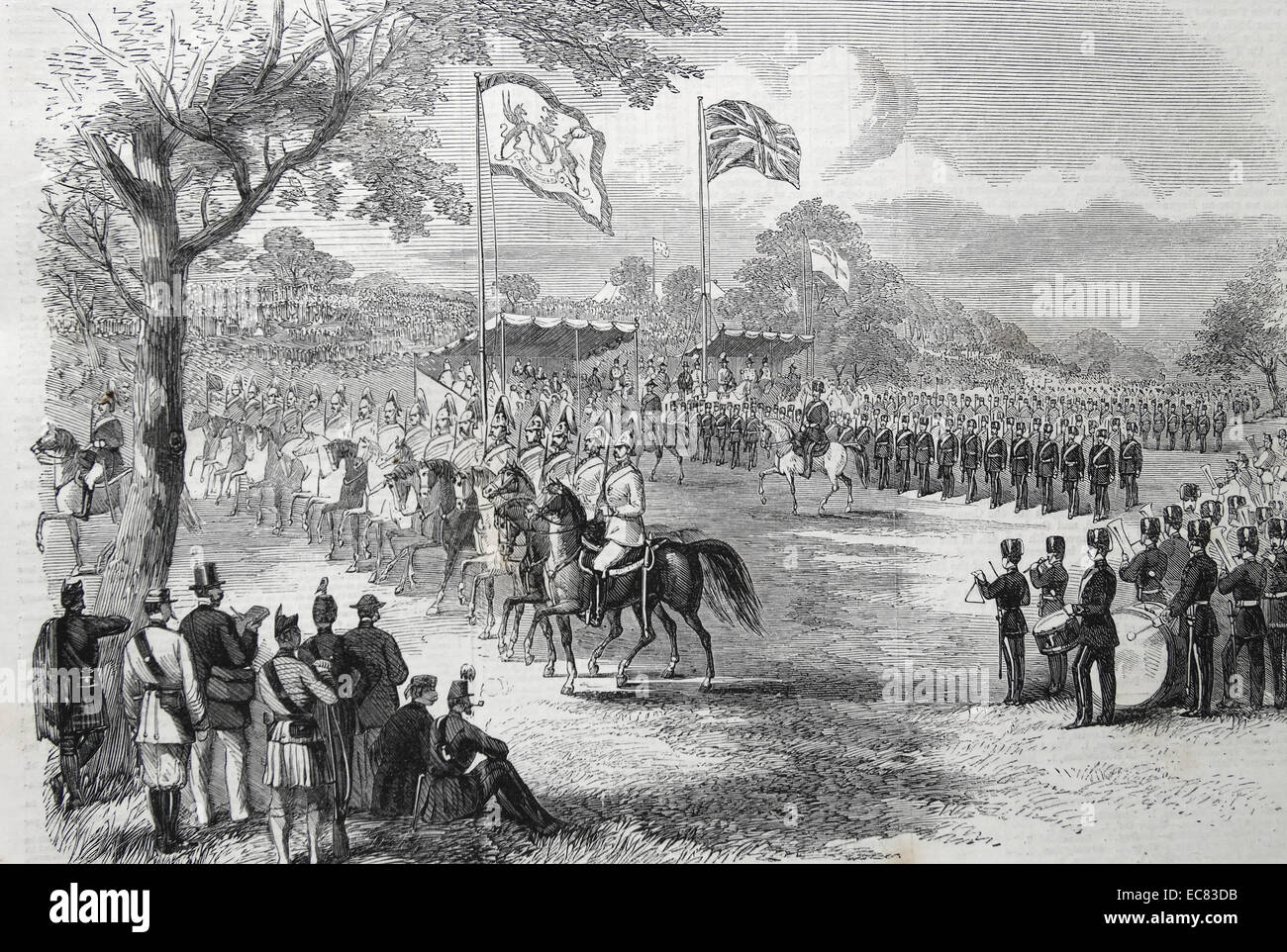 The 1st Lancashire Mounted Rifles and the Artillery Brigade marching past; the Commissariat Department. - Stock Image