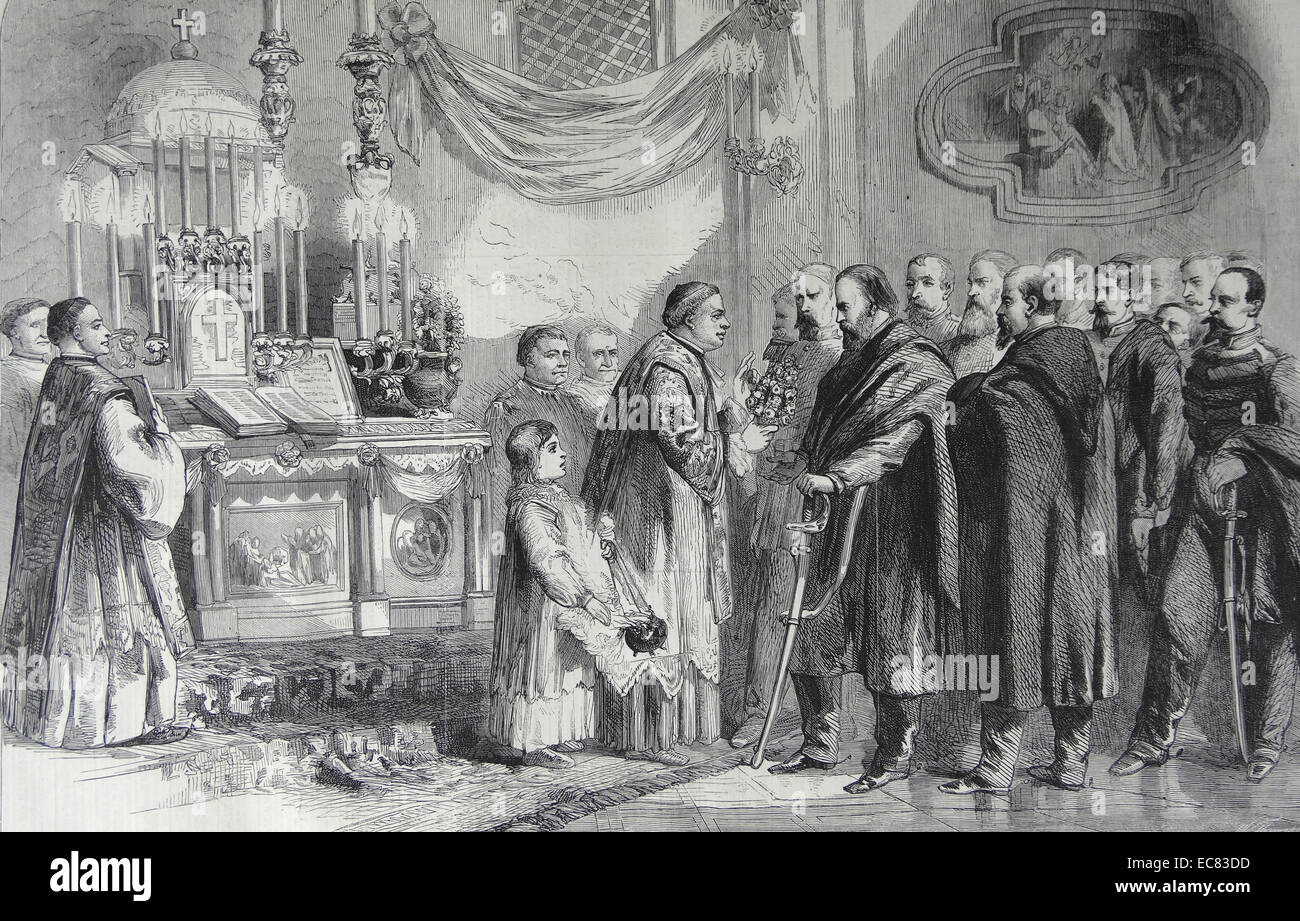 Revolution in Naples-Garibaldi at the shrine of the virgin of Piedigrotta on the 8th inst. From a sketch by T. Nast. - Stock Image