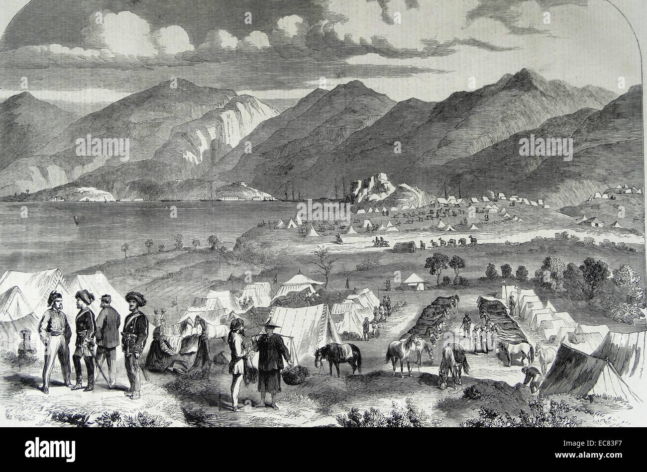 Camp of the Sikh Cavalry at Cowloong; opposite Hong-Kong. Probyn's horse and Fane's horse. From a sketch - Stock Image