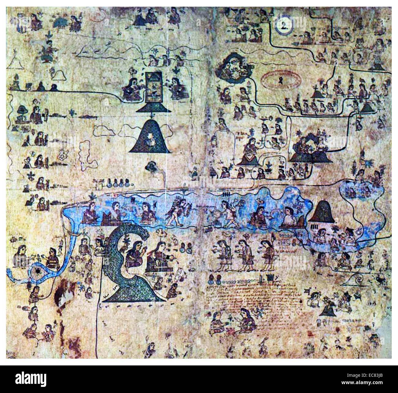 The Codex Xolotl is a post conquest cartographic Aztec codex, thought to have originated before 1542 - Stock Image