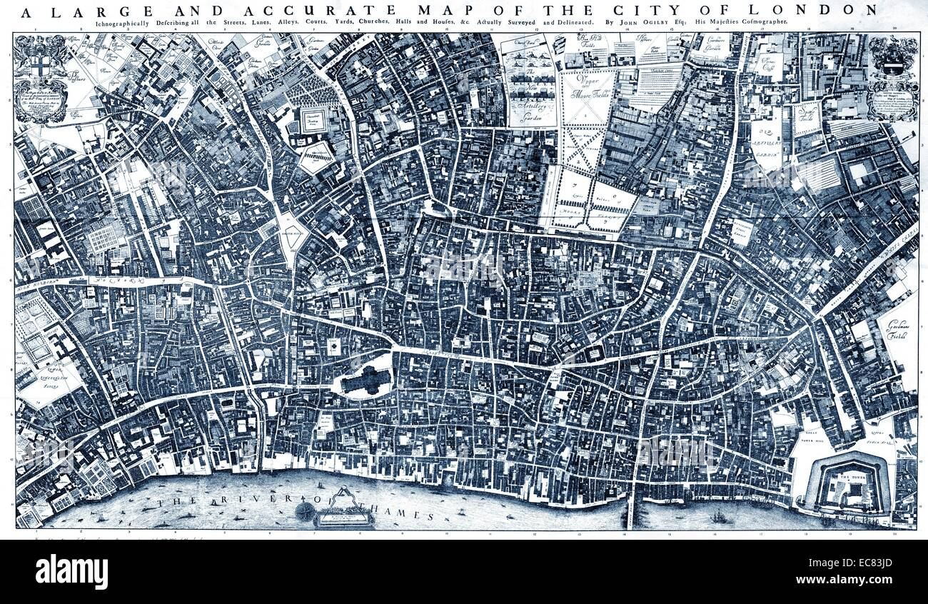 City of London' Map by Ogilby and Morgan. 1677 Stock Photo