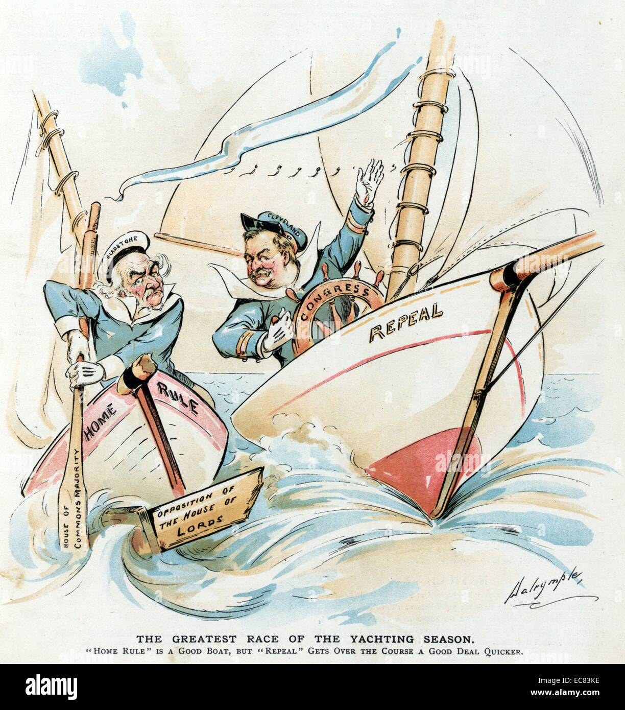 The greatest race of the yachting season by Louis Dalrymple, 1866-1905, artist, 1893. President Cleveland at the - Stock Image