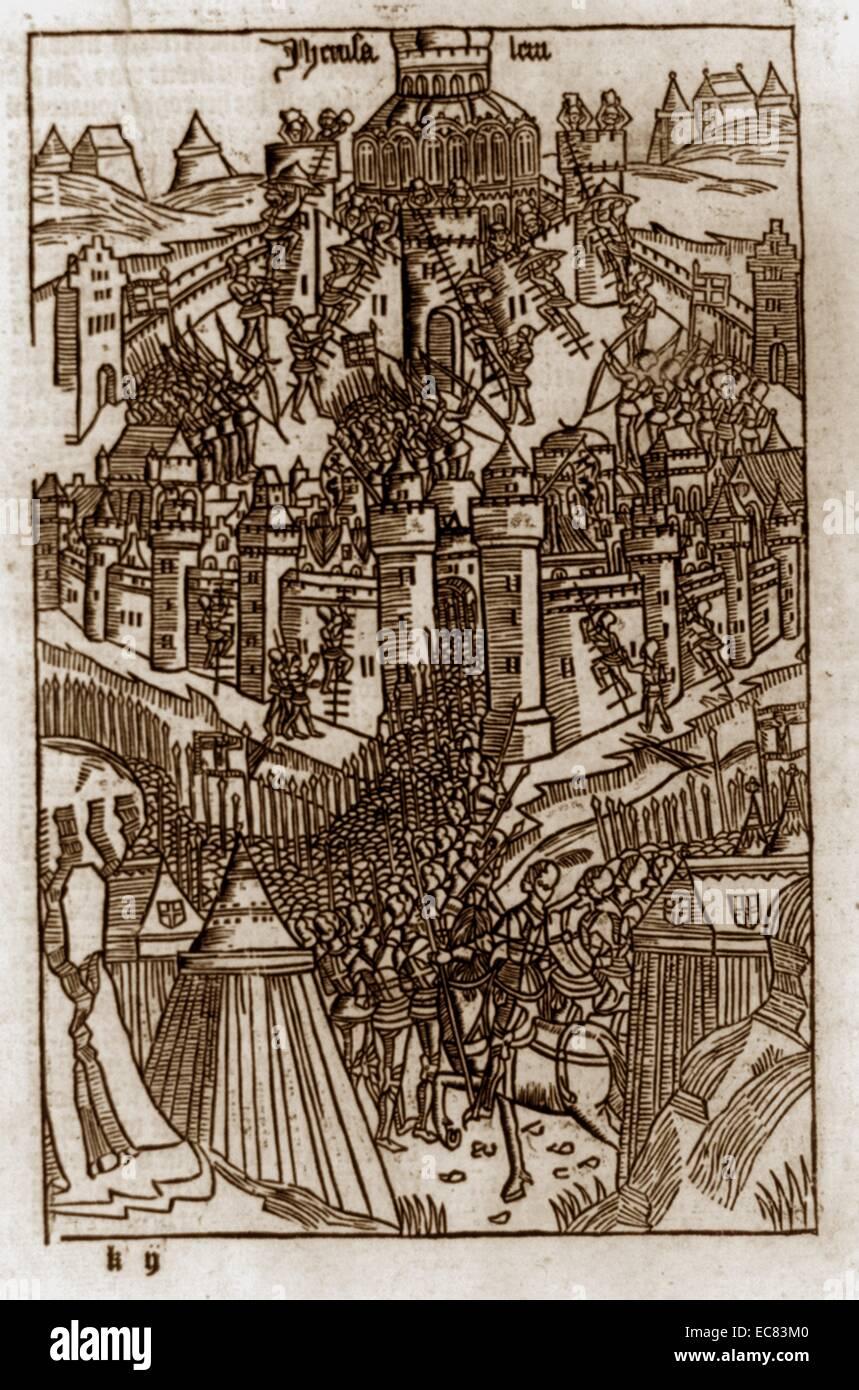 Siege of Jerusalem by Crusaders, 1099 - Stock Image