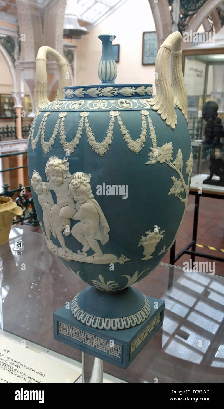 Vase; Jasper stoneware; decorated with applied reliefs. - Stock Image