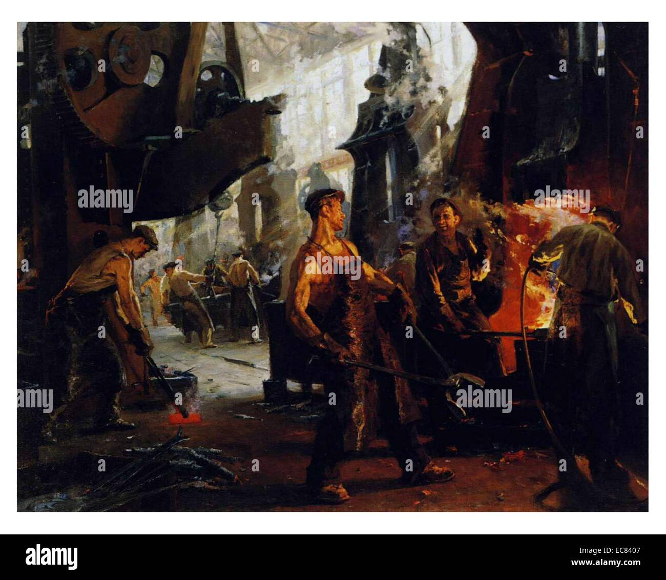 Painting titled 'In the Stalin Factory by Mikhail A. Kostin (1918-Unknown) was a Russian artist. - Stock Image