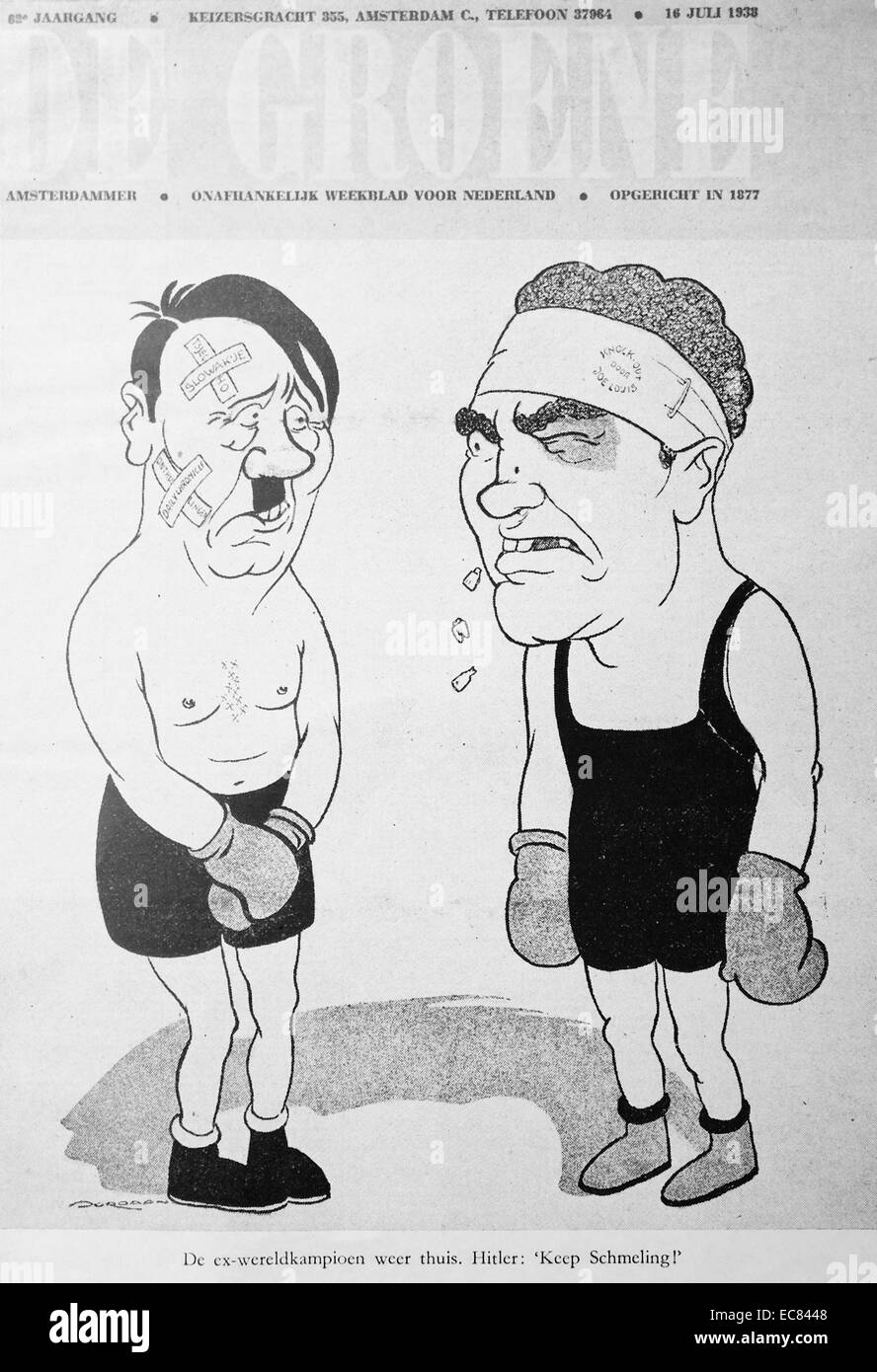 Cartoon of Adolf Hitler in a boxing match with Joe Louis - Stock Image