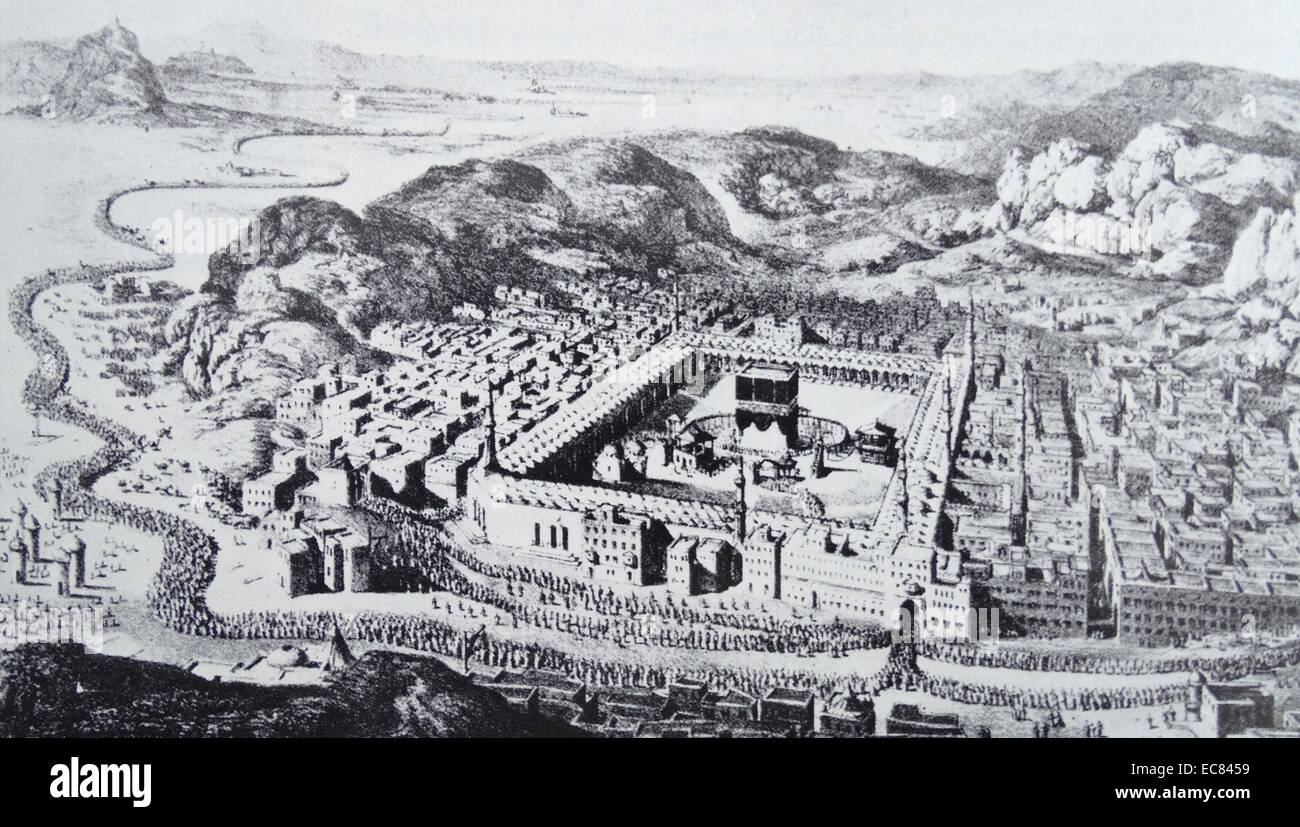 Mecca with the holy sites; including the Dutch Islam scholar Dozy himself. - Stock Image