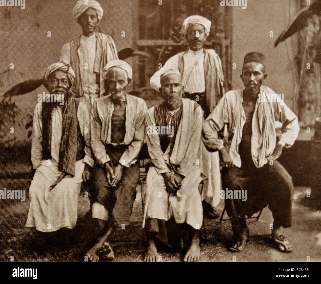 Moslem pilgrims from Aceh 1900. - Stock Image