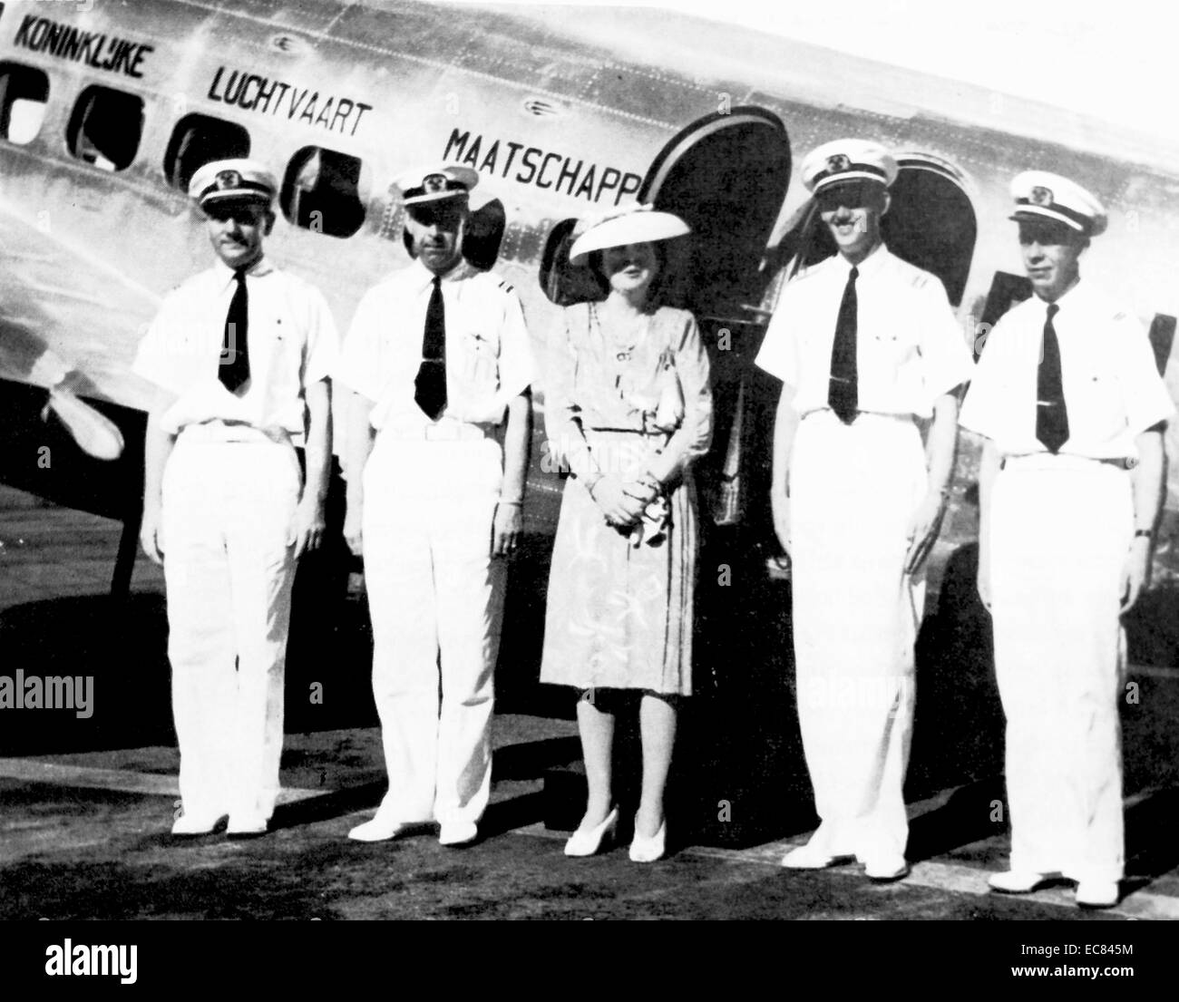 Princess Juliana (later queen of the Netherlands); makes a visit via a KLM flight to the colony of Suriname 1942 - Stock Image