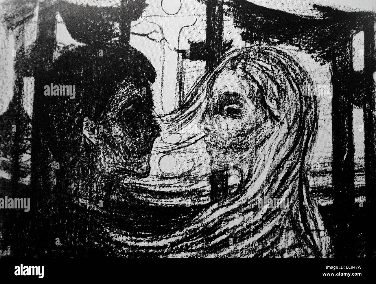 Lovers by the norwegian artist edvard munch stock image