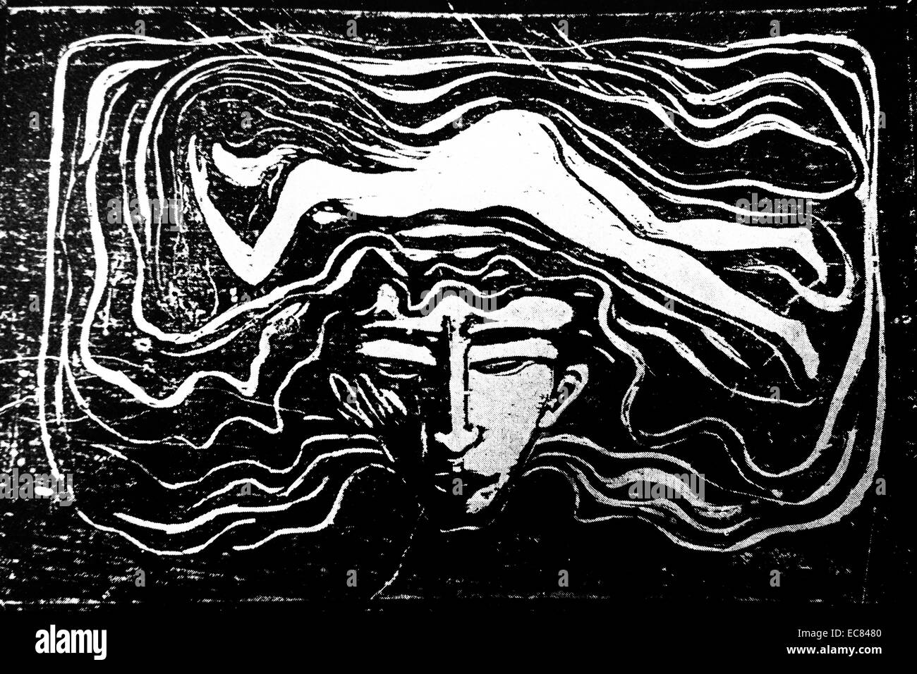 Work entitled The Man's Brain by Norwegian artist Edvard Munch (1863-1944). This work was produced in 1897. - Stock Image