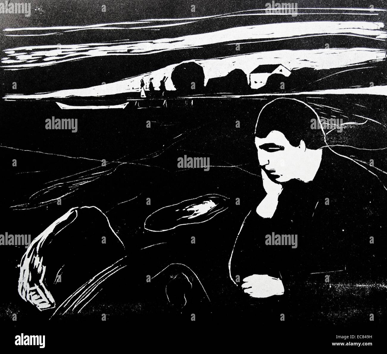 Work entitled Evening, Melancholy Is Shining by the Norwegian artist Edvard Munch (1863-1944). This work was produced - Stock Image