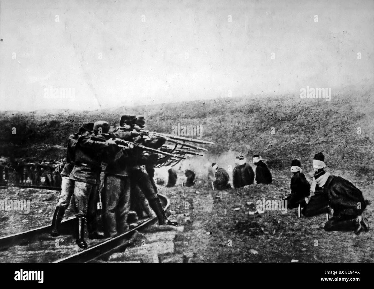 Austrian troops executing Serbs in world war one 1914 - Stock Image
