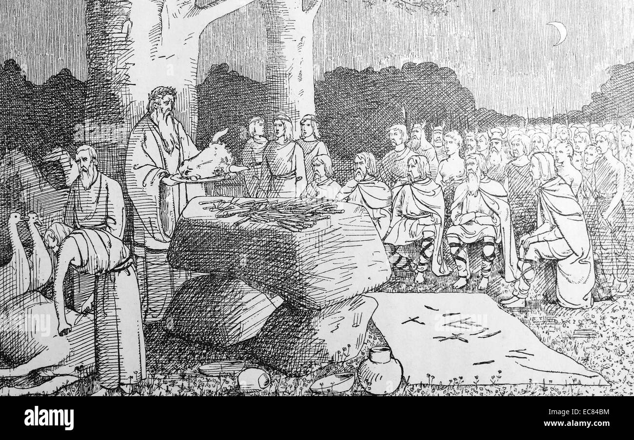 sacrifice is offered at a Germanic tribal assembly 4th century AD - Stock Image