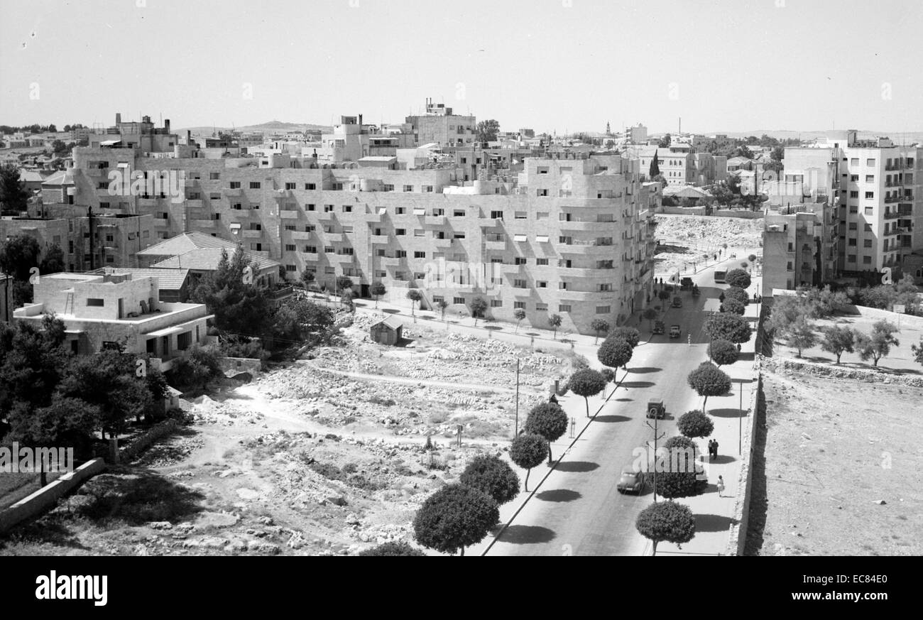 Aerial photograph of Jerusalem from the Hebrew Library roof. Dated 1942 - Stock Image