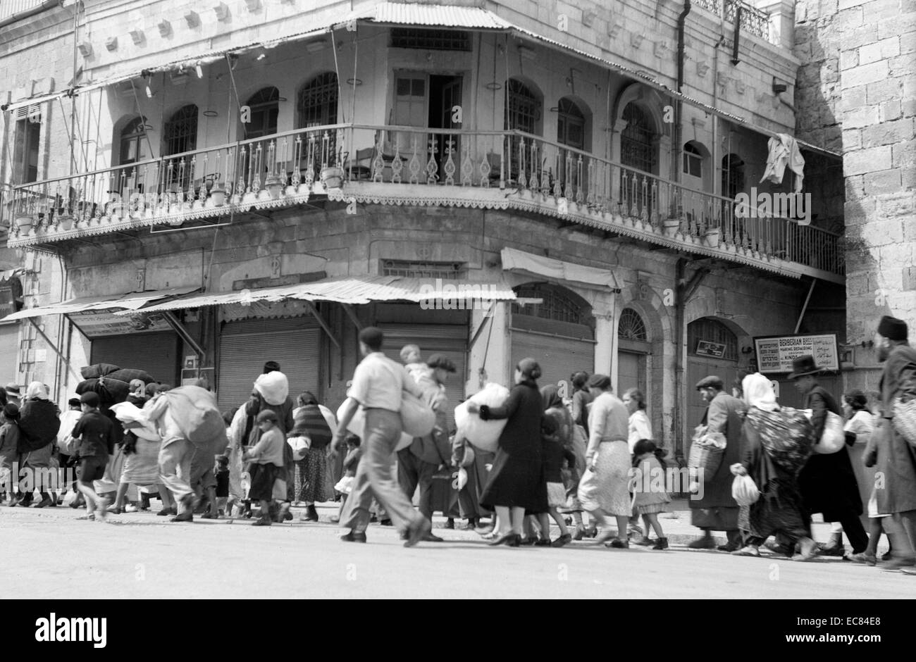 Jewish exodus from the Old City, taken near the Jaffa Gate during the Palestine disturbances 1936 - Stock Image