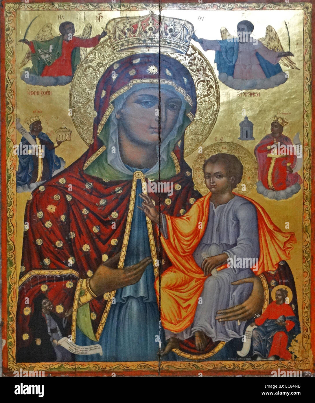 Greek Icon of Mary with Christ from the Church of the Holy Sepulchre. - Stock Image