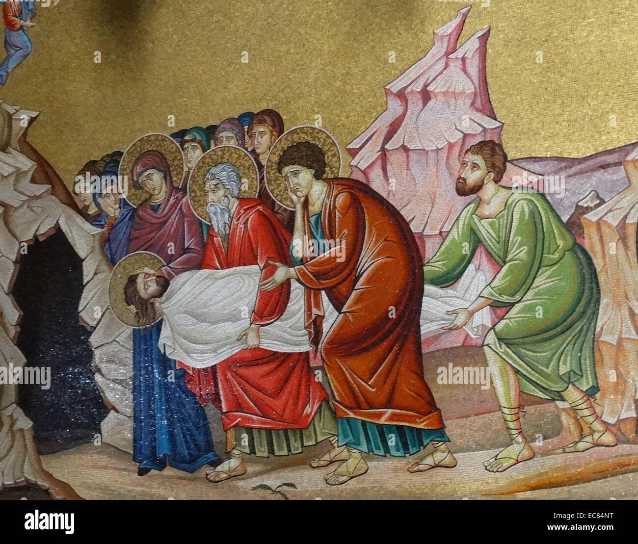Mosaic of the Entombment of Christ; in the Church of the Holy Sepulchre. - Stock Image