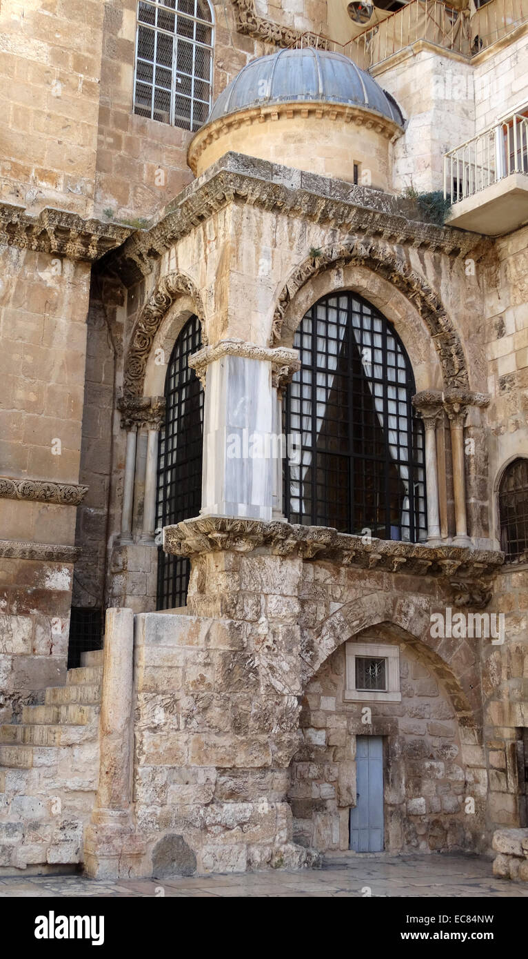 The Church of the Holy Sepulchre in Jerusalem and is identified as the places both of the crucifixion and the tomb - Stock Image